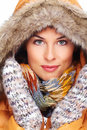 Beautiful young woman face winter clothing Royalty Free Stock Images