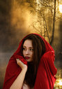 Beautiful young woman in fantasy style girl in a red dress book cover at lake morning Stock Photography
