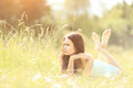 Beautiful young woman field in summer Royalty Free Stock Photo