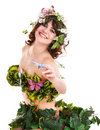 Beautiful young woman with flower and butterfly. Royalty Free Stock Photos