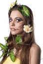 Beautiful young woman with flowers Royalty Free Stock Photo