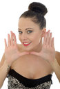 Beautiful Young Woman Framing Her Face With Her Hands Looking Ha Royalty Free Stock Photo