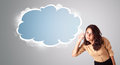 Beautiful young woman gesturing abstract cloud copy space Royalty Free Stock Photo