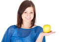 Beautiful young woman with green apple over white background Stock Photography