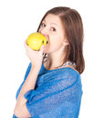 Beautiful young woman with green apple over white background Royalty Free Stock Photo