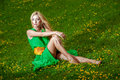 Beautiful young woman in a green fashionable dress Royalty Free Stock Photos