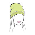 Beautiful young woman with her hair in a green high hat. Vector fashion sketch in hand drawing style for your design. EPS10 Royalty Free Stock Photo