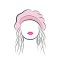 Beautiful young woman with her hair in a pink beret. Vector fashion sketch in hand drawing style for your design. EPS10 Royalty Free Stock Photo