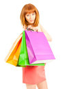 Beautiful young woman with her shopping bags Royalty Free Stock Image
