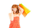 Beautiful young woman with her shopping bags Stock Image