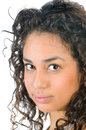 Beautiful young woman hispanic brunette in closeup Royalty Free Stock Images