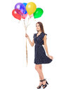Beautiful young woman holding balloons full length portrait of romantic in polka dot dress colorful isolated on white background Stock Photo