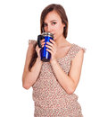 Beautiful young woman with hot drink Royalty Free Stock Photo