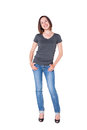 Beautiful young woman in jeans and tshirt Royalty Free Stock Photo