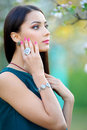 Beautiful young woman with jewelry luxury accessory. Spring coll Royalty Free Stock Photo