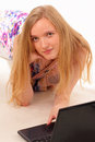 Beautiful young woman with a laptop Royalty Free Stock Photography