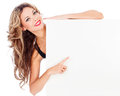 Beautiful young woman long hair holding white board Royalty Free Stock Photography