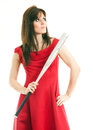 Beautiful young woman long red dress standing white background holding metal baseball bat Stock Photos