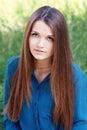 Beautiful young woman looking at copyspace closeup Stock Image