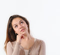 Beautiful young woman looking up with copyspace lifestyle concept Royalty Free Stock Photography