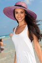 Beautiful young woman multicultural enjoying miami beach Royalty Free Stock Images