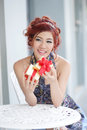 Beautiful young woman opening gift box thai ethnicity Royalty Free Stock Photo