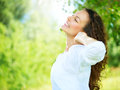 Beautiful young woman outdoor enjoy nature Royalty Free Stock Images