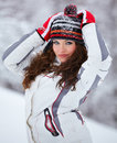 Beautiful young woman outdoor in winter Stock Photo