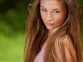 Beautiful young woman outdoors beauty girl enjoying nature bea spring meadow face Stock Image