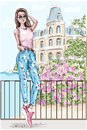Beautiful young woman with picturesque landscape background. Hand drawn fashion woman with castle and flowers on background. Royalty Free Stock Photo