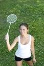 Beautiful Young Woman Playing Badminton Stock Photo