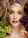 Beautiful young woman portrait excited smile with fantasy art hair makeup style, fashion girl with creative food fruit