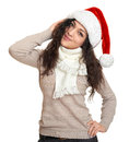 Beautiful young woman portrait  in santa helper hat posing on white Royalty Free Stock Photo