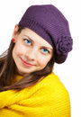 Beautiful young woman portrait of a with yellow scarf over white Royalty Free Stock Photo