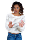A beautiful young woman raising hands up to say stop it closeup portrait of shocked mad no right there isolated on white Royalty Free Stock Photos