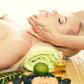 Beautiful young woman receiving facial massage at a spa salon Royalty Free Stock Photo