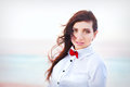 Beautiful young woman with red bow tie portrait of outrdoor Royalty Free Stock Photos