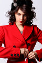 Beautiful young woman in red coat Royalty Free Stock Photography