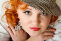 Young woman with red hairs in fedora hat Royalty Free Stock Photo