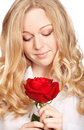 Beautiful Young Woman With Red Rose Royalty Free Stock Photos
