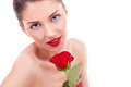 Beautiful young woman with red rose Stock Photos