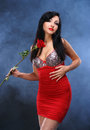 Beautiful young woman with red rose Royalty Free Stock Photo