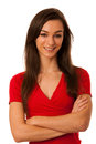 Beautiful young woman in red tshirt isolated over white backgrou Royalty Free Stock Photo