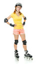 Beautiful young woman on roller skates Royalty Free Stock Photos