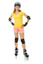 Beautiful young woman on roller skates Stock Photos