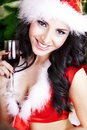 Beautiful young woman on santa hat Royalty Free Stock Photo