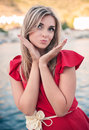 Beautiful young woman sends an air kiss love emotion Stock Photos