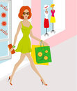 Beautiful young woman shopping with bags Stock Photography