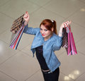 Beautiful young woman shopping girl with a bag Royalty Free Stock Photo