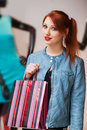 Beautiful young woman shopping girl with a bag Royalty Free Stock Photos